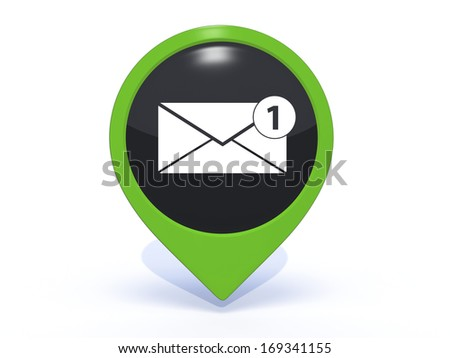 new message pointer icon on white background