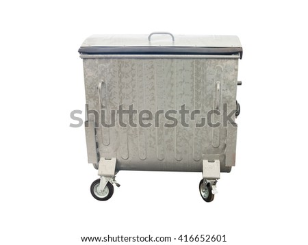 New metallic garbage container isolated over white background - stock photo