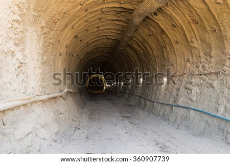 new metro or underground train tunnel constructions site
