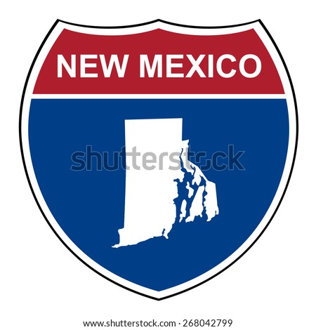 New Mexico American interstate highway road shield isolated on a white background. - stock photo