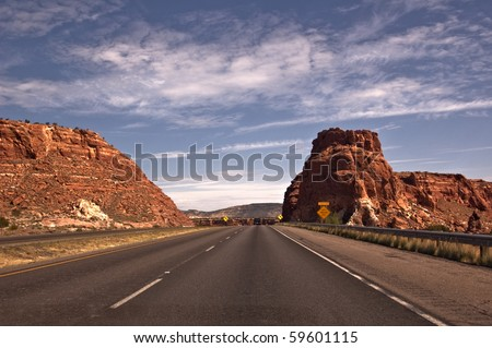 New Mexico Highway 40 outside of Albuquerque - stock photo