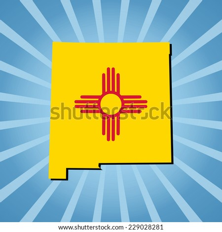 New Mexico map flag on sunburst illustration - stock photo