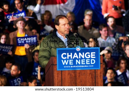 NEW MEXICO - OCTOBER 25: Democratic candidate for senate, Tom Udall, speaks at a Barack Obama presidential rally at the University of New Mexico on October 25, 2008 in Albuquerque, New Mexico. - stock photo