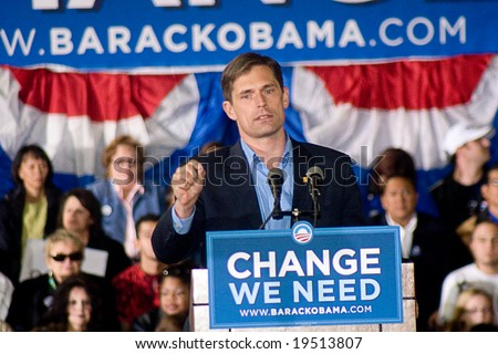 NEW MEXICO - OCTOBER 25: Democratic congressional candidate Martin Heinrich speaks at a Barack Obama presidential rally at the University of New Mexico on October 25, 2008 in Albuquerque, New Mexico. - stock photo