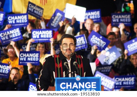 NEW MEXICO - OCTOBER 25: Governor Bill Richardson (D-NM) speaks at a Barack Obama presidential rally at the University of New Mexico on October 25, 2008 in Albuquerque, New Mexico. - stock photo