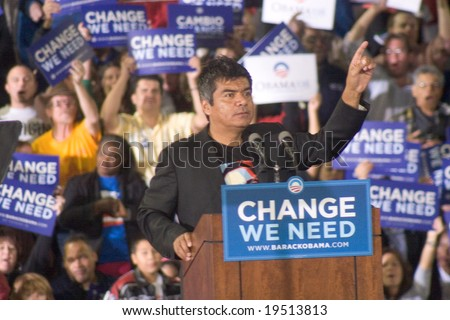 NEW MEXICO - OCTOBER 25: Latino Comedian George Lopez gestures as he speaks at a Barack Obama presidential rally at the University of New Mexico on October 25, 2008 in Albuquerque, New Mexico. - stock photo
