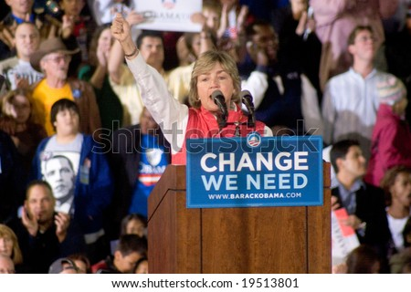 NEW MEXICO - OCTOBER 25: Lt Governor Diane Denish (D-NM) gestures as she speaks at a Barack Obama presidential rally at the University of New Mexico on October 25, 2008 in Albuquerque, New Mexico. - stock photo