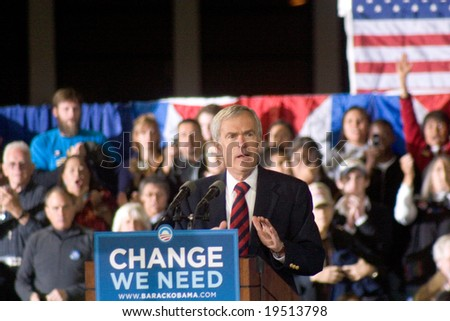 NEW MEXICO - OCTOBER 25: Senator Jeff Bingaman (D-NM) speaks at a Barack Obama presidential campaign rally at the University of New Mexico on October 25, 2008 in Albuquerque, New Mexico. - stock photo