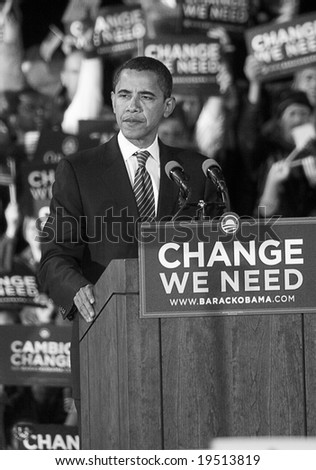 NEW MEXICO - OCTOBER 25: U.S. Presidential candidate, Barack Obama, pauses as he speaks at his presidential rally at the University of New Mexico on October 25, 2008 in Albuquerque, New Mexico. - stock photo
