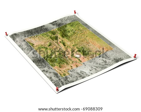 New Mexico on unfolded map sheet with thumbtacks. Map colored according to vegetation, with borders and major urban areas. Includes clip path for the background.
