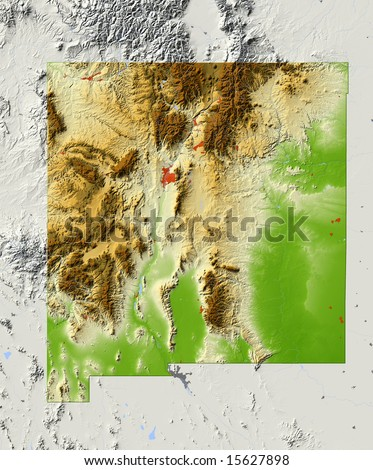 New Mexico. Shaded relief map, with major urban areas and rivers, surrounding territory greyed out. Colored according to elevation. Clipping path for the state area included. Data source: NASA - stock photo