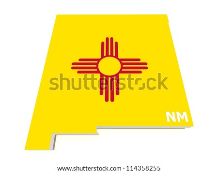 new mexico state flag on 3d map - stock photo