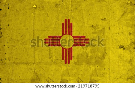New Mexico state Flag on old paper - stock photo