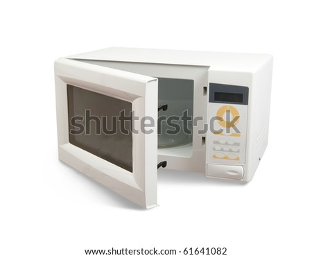 New microwave oven. Isolated on white background - stock photo