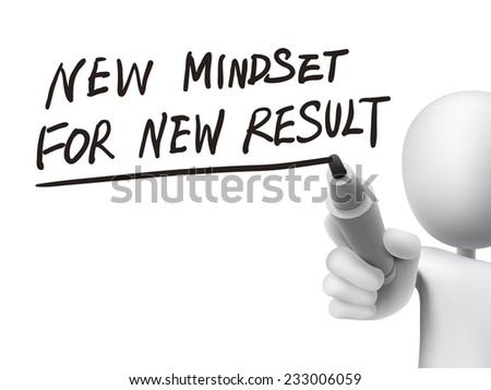 new mindset for new results written by 3d man over transparent board - stock photo