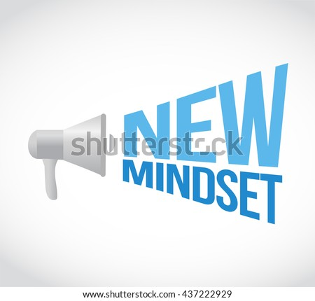 new mindset megaphone message. illustration design graphic - stock photo