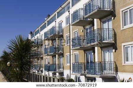 New modern appartment block on the front of Brighton Marina, UK - stock photo