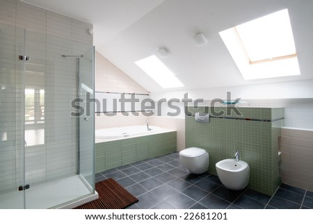 New modern bathroom - stock photo