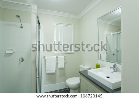 New modern bathroom in australian townhouse - stock photo