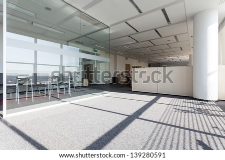 New modern business centre with a glass room - stock photo