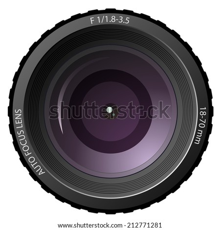 New modern camera lens isolated on white background. - stock photo