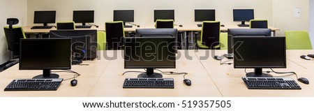 New modern computer classroom for the IT students in a school