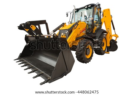 New modern excavator loader with clipping path isolated over white background - stock photo