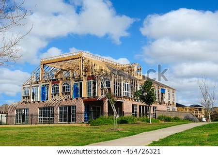 New modern family house under construction, Australia - stock photo