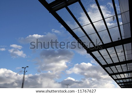 New modern glass building roof