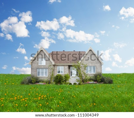 New modern house under blue sky. Real estate concept. - stock photo