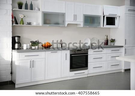 New modern kitchen interior - stock photo