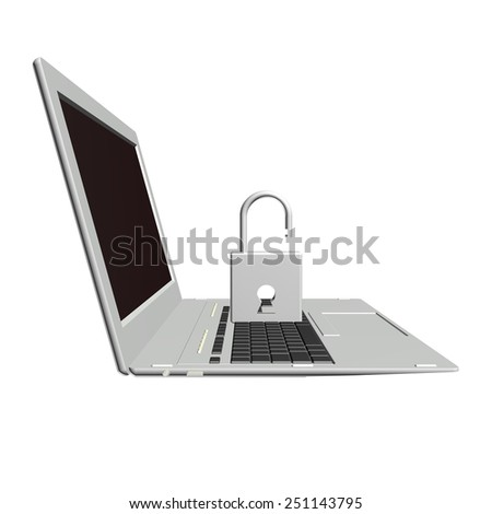 New modern laptop with closed lock.Security in Internet. - stock photo