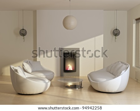 new modern living room including sofas, plant, fireplace and sunlight - stock photo
