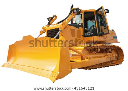 New modern loader or bulldozer - excavator isolated on white background with clipping path