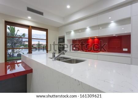 New modern minimalistic kitchen - stock photo