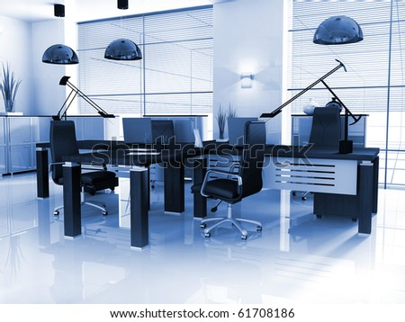 new modern office 3d rendering - stock photo