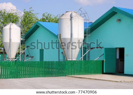 New modern pig farm exterior - stock photo