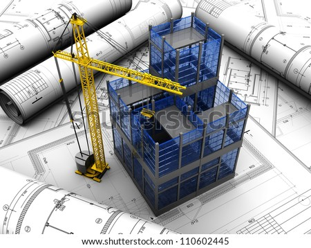 New modern project of building with crane - stock photo