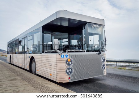 New modern shuttle bus on the road