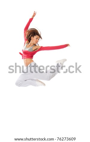 New modern slim hip-hop style woman dancer jumping isolated on a white studio background - stock photo