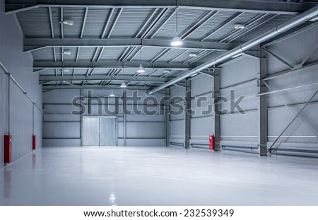 New modern storehouse, background for industry - stock photo