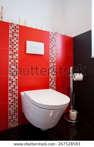 New modern toilet with red tiles