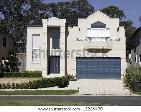 New Modern Town House In A Sydney Suburb On A Sunny Summer Day, Australia - stock photo