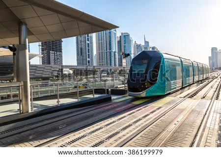 New modern tram in Dubai, United Arab Emirates - stock photo