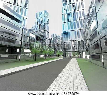 new modern visualization of city of future illustration - stock photo