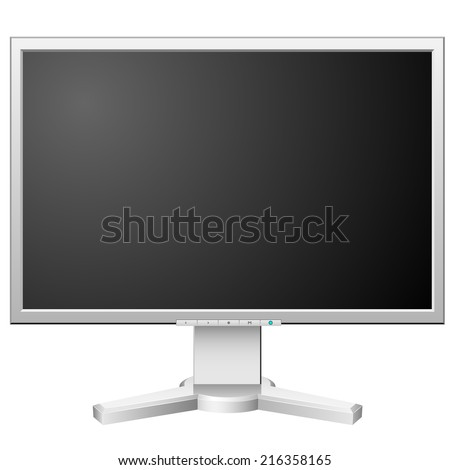 New modern white LCD monitor isolated on white background. - stock photo