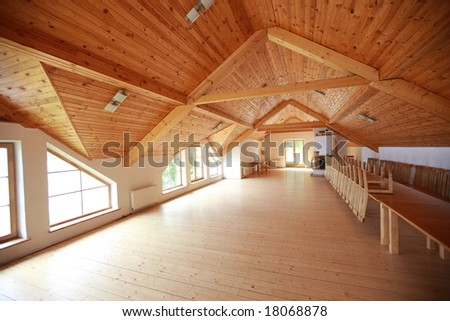New modern wooden house from inside - stock photo