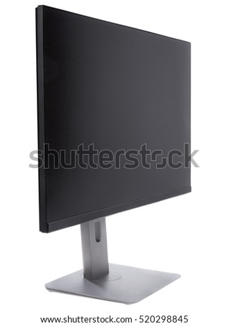 New monitor, computer display, angle view - isolated on white background