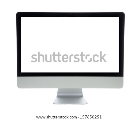 New monitor computer display  isolated on a white background - stock photo