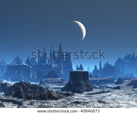 New Moon over Blue Alien Planet Landscape - stock photo